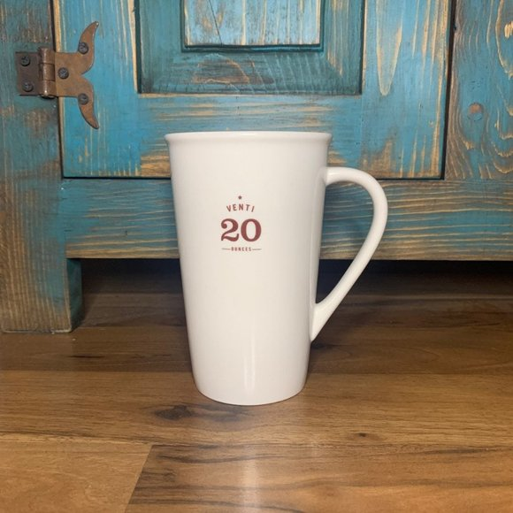 Starbucks 2010 Venti White Tall  20 Ounce Mug